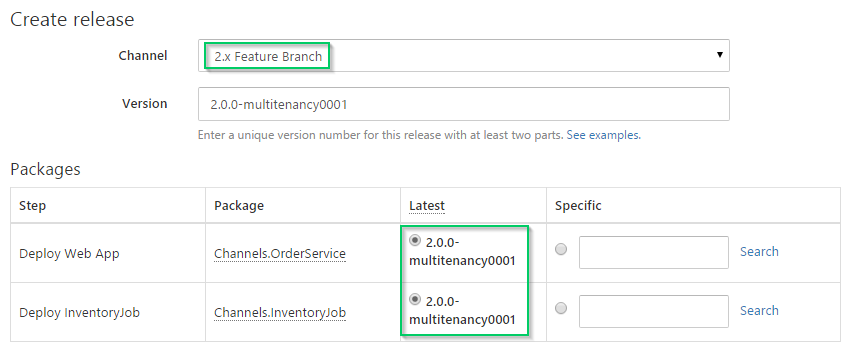 Create Feature Branch Release
