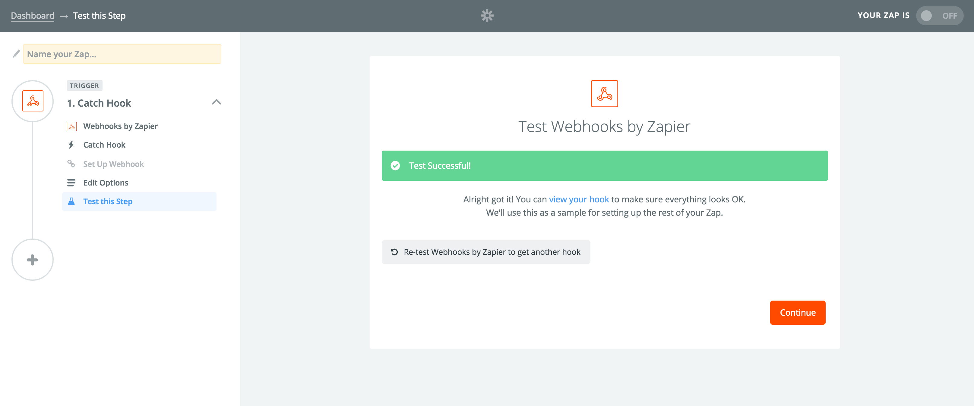 Zapier successful test