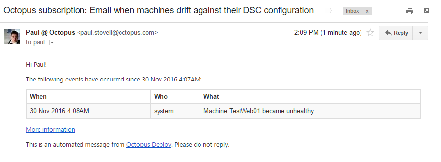 Email notification of drift