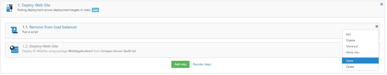 New Clone option in step context menu