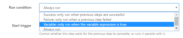 New Variable based Run Condition option