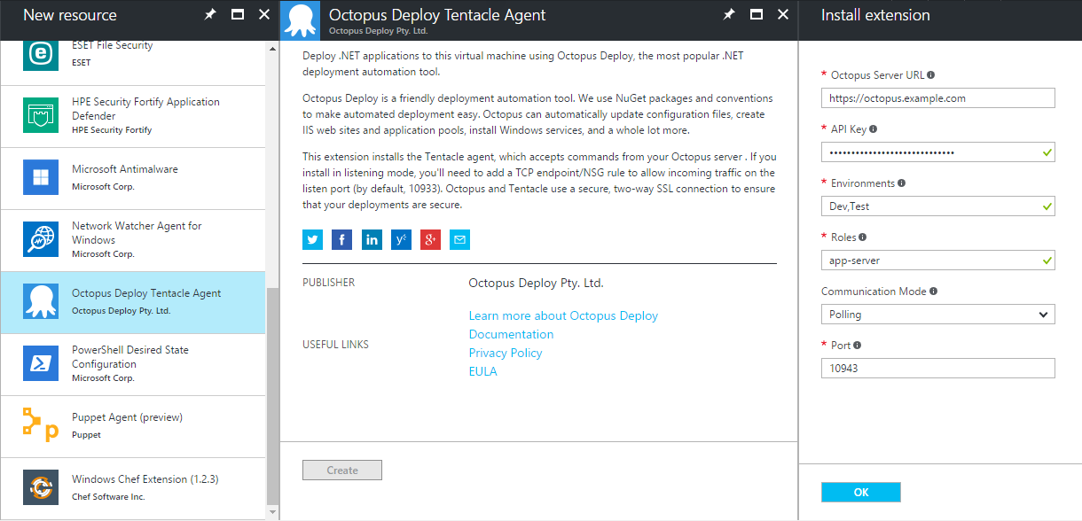 Azure Portal - Add Tentacle VM Extension