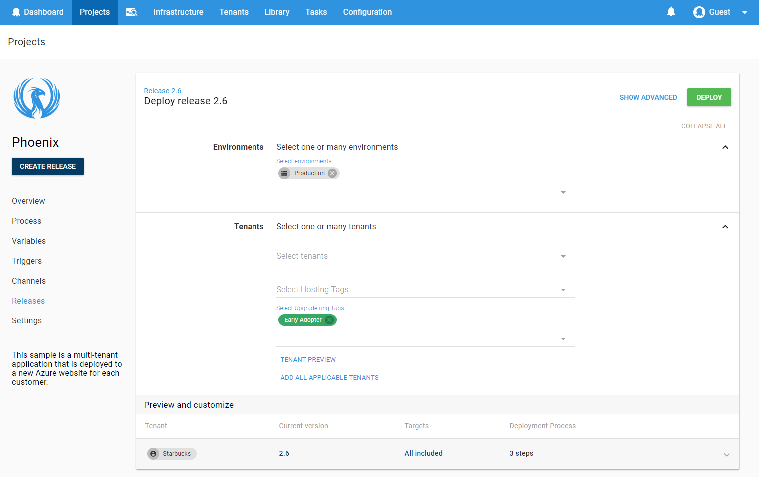 Octopus redesigned deployment page