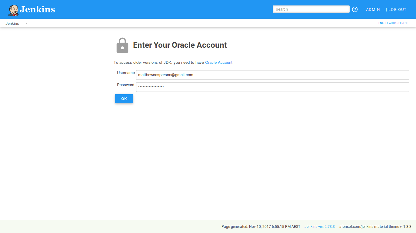 Oracle credentials