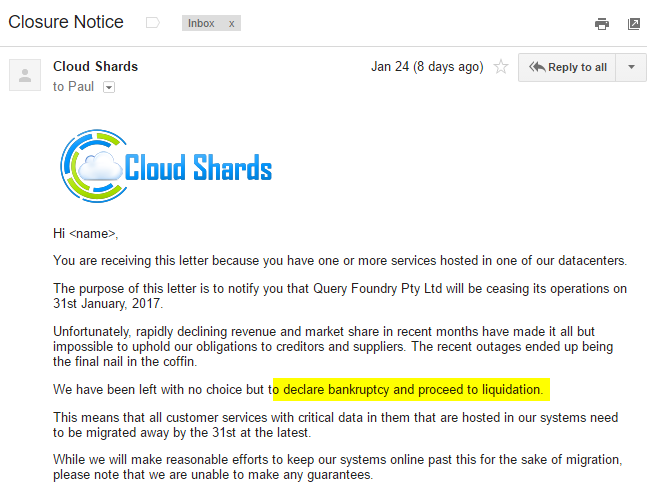 CloudShards shutting down