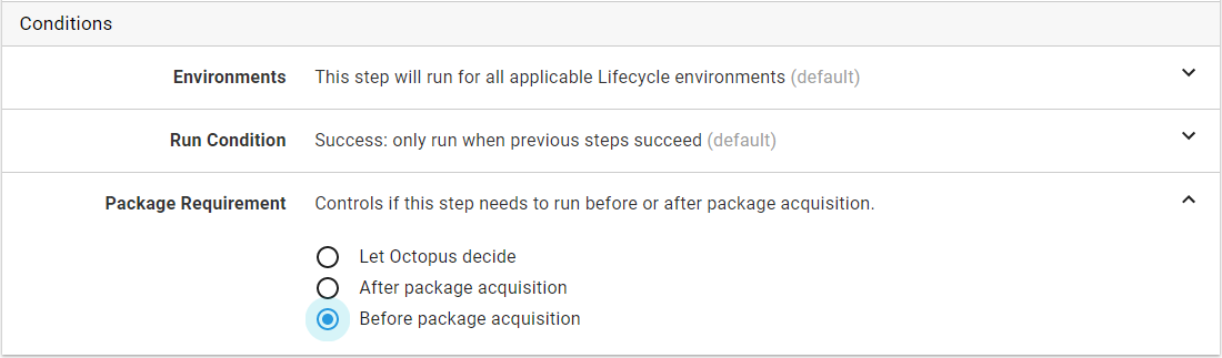 Step condition - Package requirement