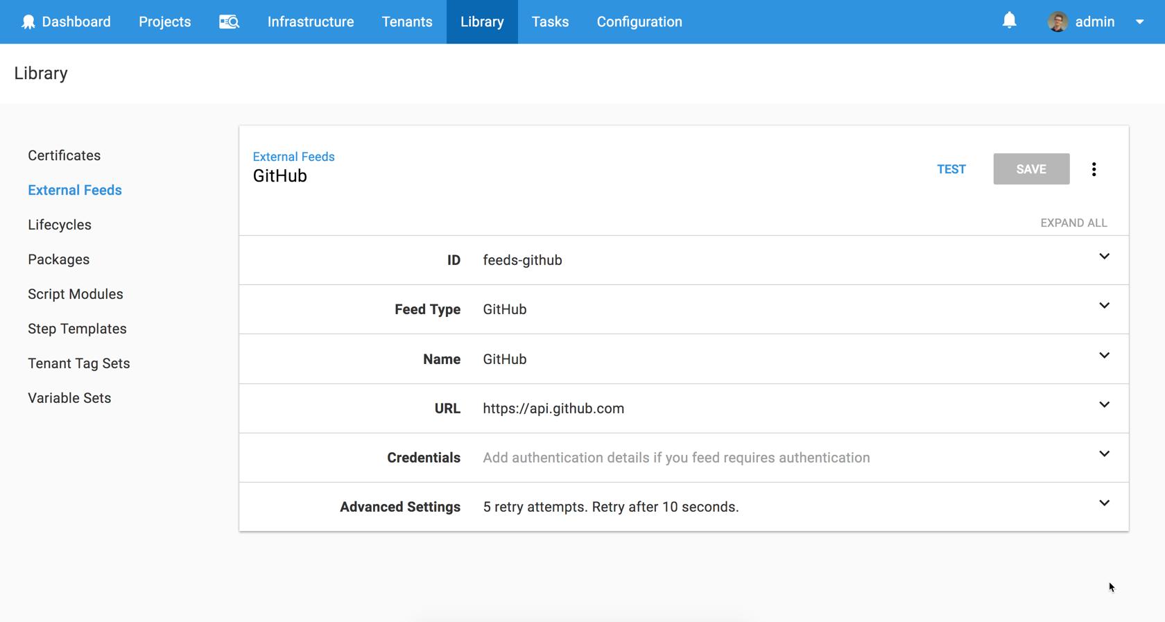 GitHub repository feed type