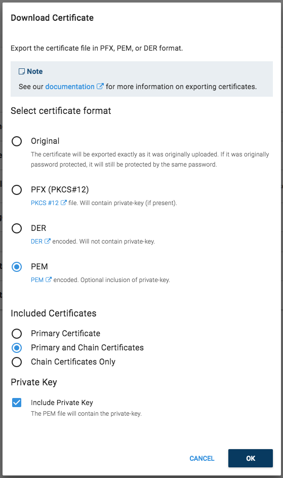 Export certificate to PEM