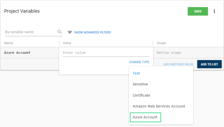 Account Project Variable