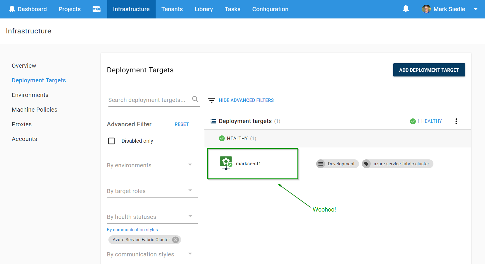 Creating Azure Service Fabric Targets - step 3
