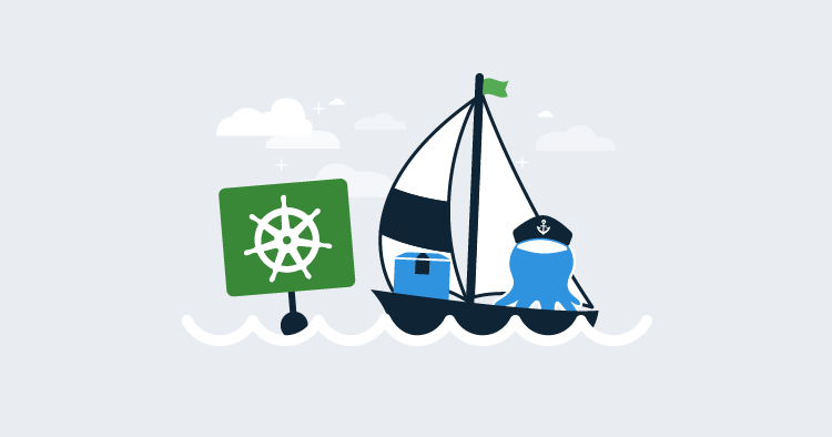 Octopus steering the Kubernetes ship illustration