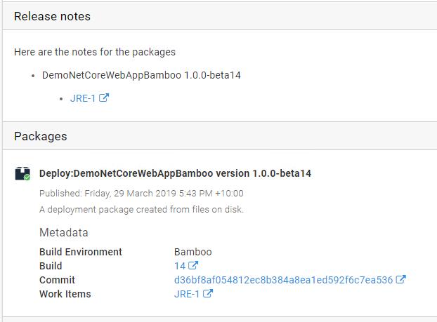 Release metadata