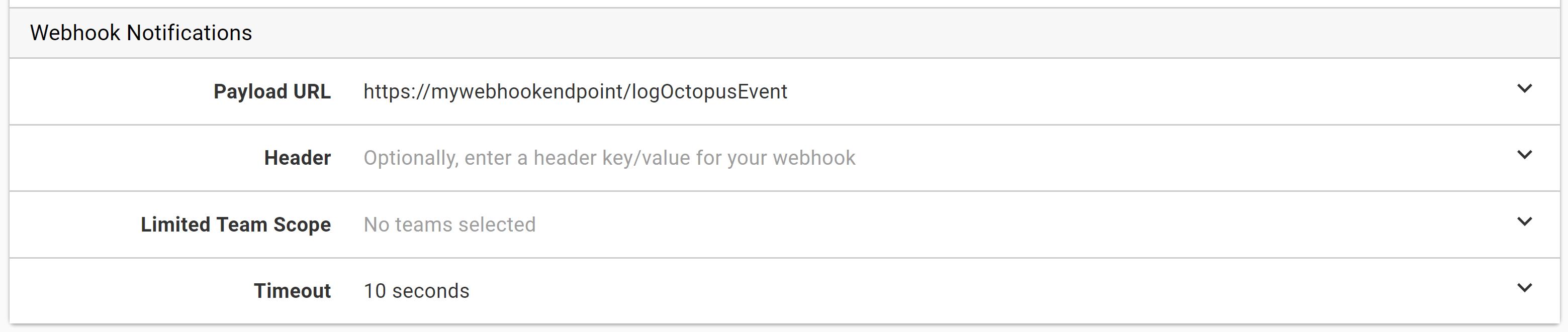 Subscription webhook settings