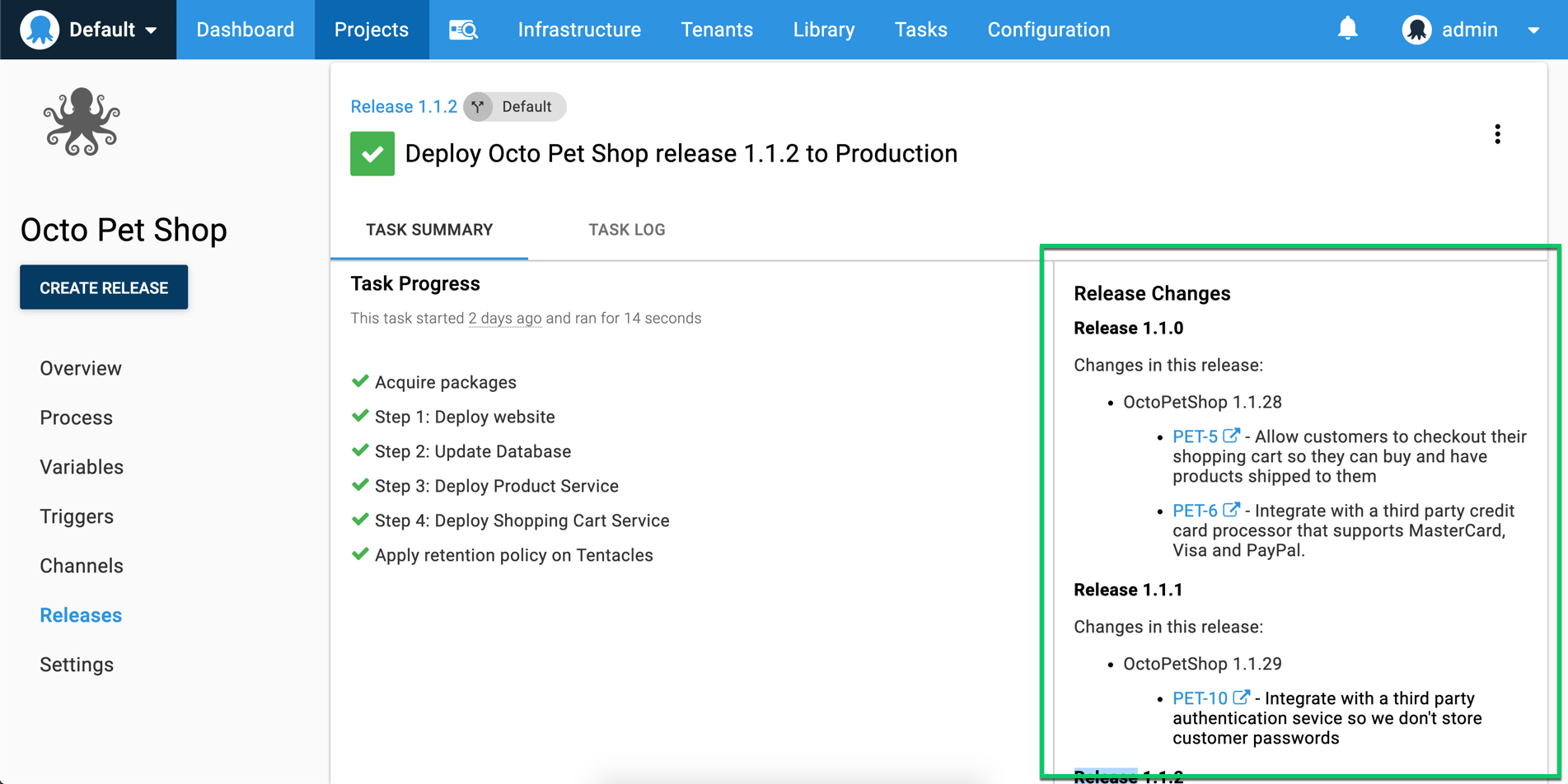 Octopus Deployment with release notes showing what