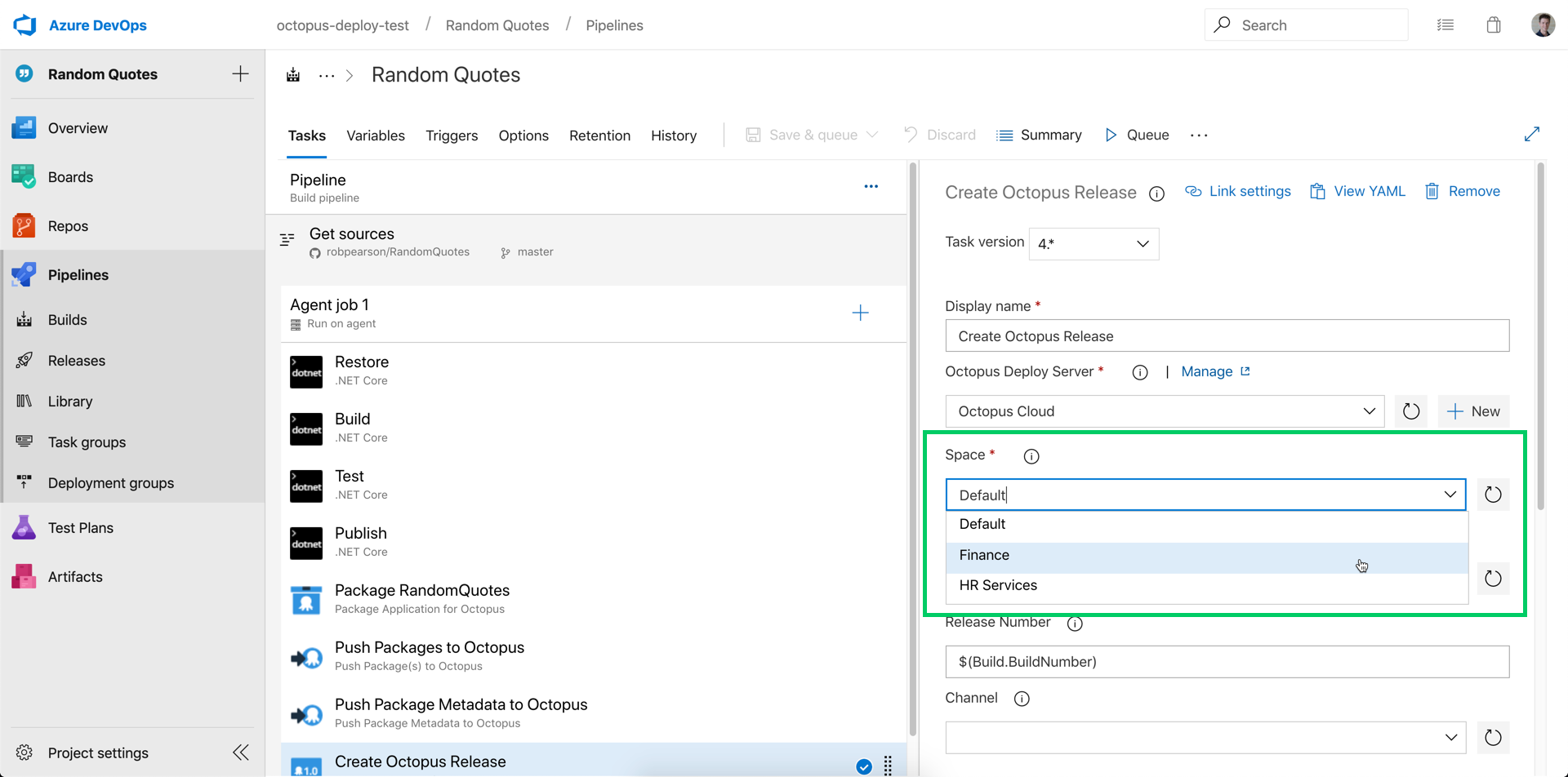 Configure your Octopus Space in an Azure Pipelines build process
