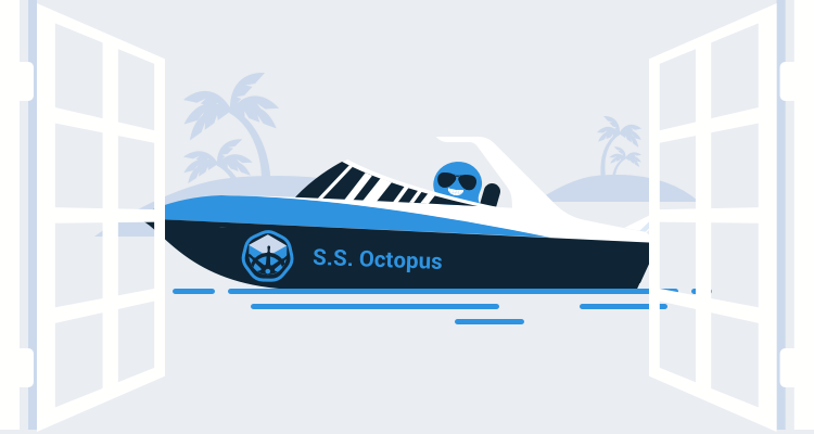 Octopus driving a Kubernetes speedboat