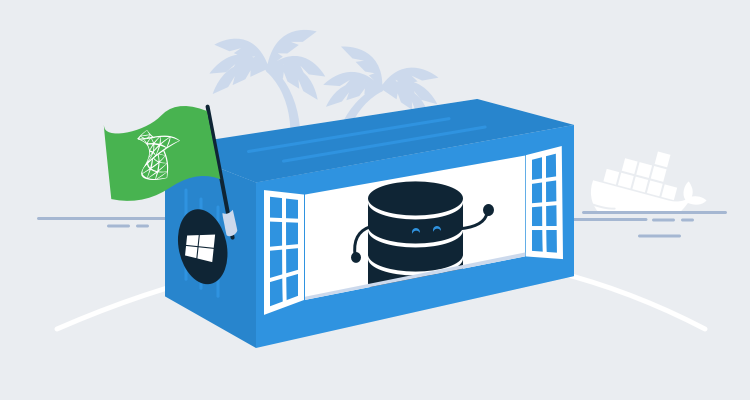 SQL Server database in a Docker container on a desert island with a Docker container ship in the background