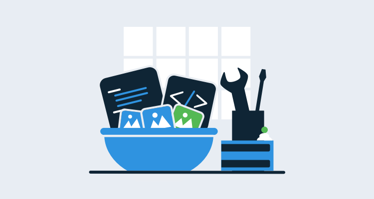 Illustration showing building a cake w/ code, markdown and images in a mixing bowl