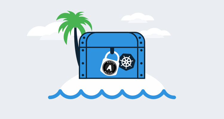 Kubernetes OAuth illustration showing a locked treasure chest representing Kubernetes
