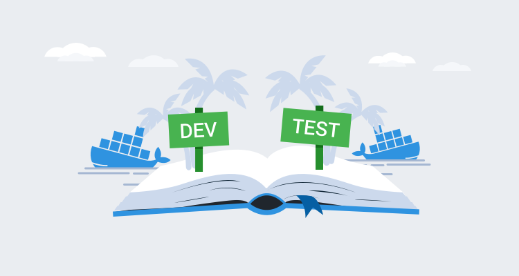 Illustration showing a book of docker lessons learned for development and testing