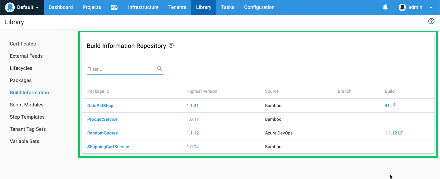 Octopus build information repository