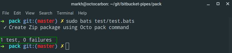 bats test run output