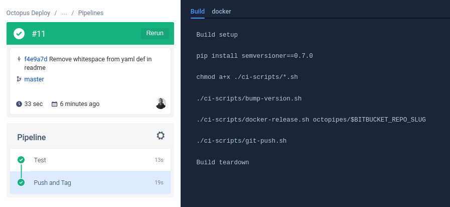 Bitbucket pipe pipeline result