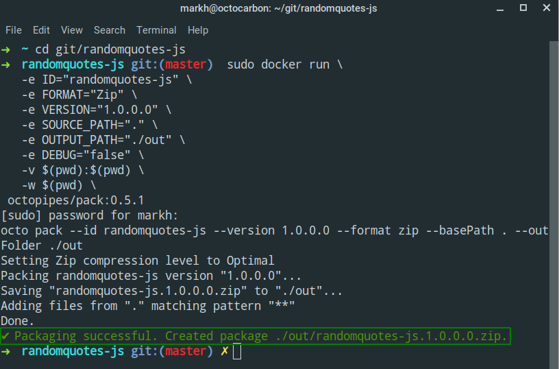docker run octopipes pack