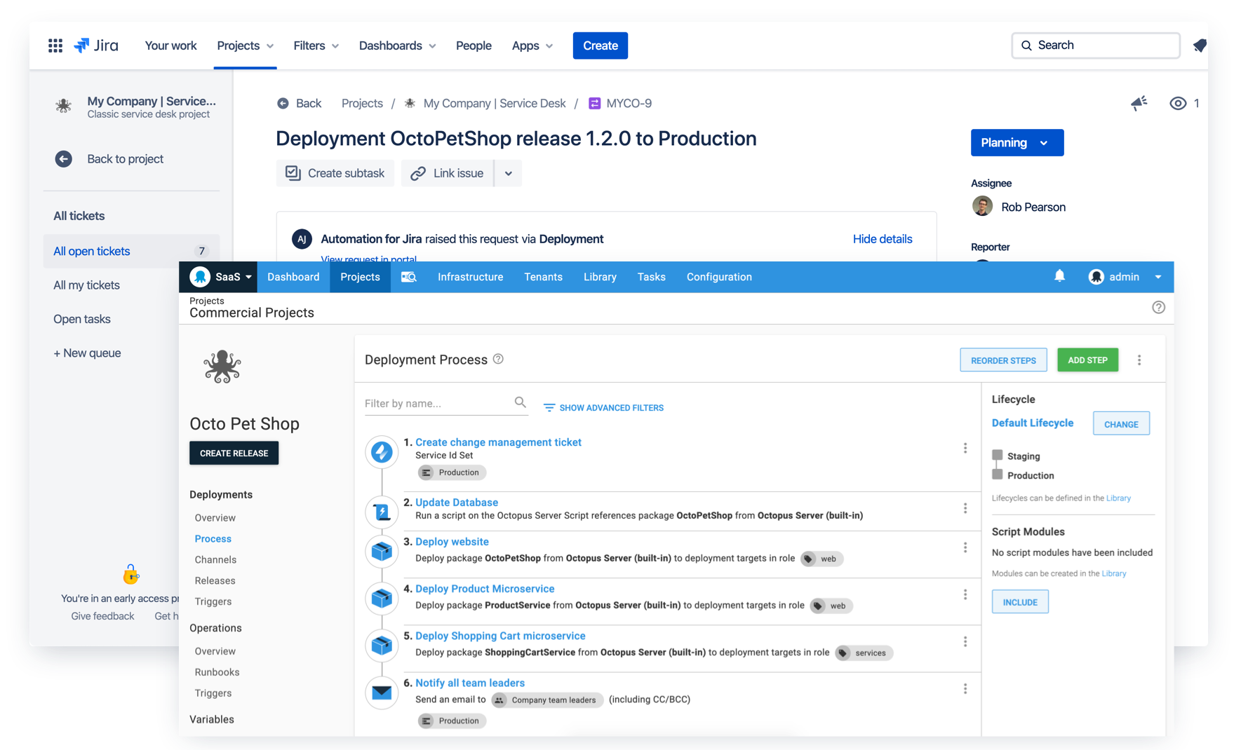 Create Jira Service Desk change requests in your deployments