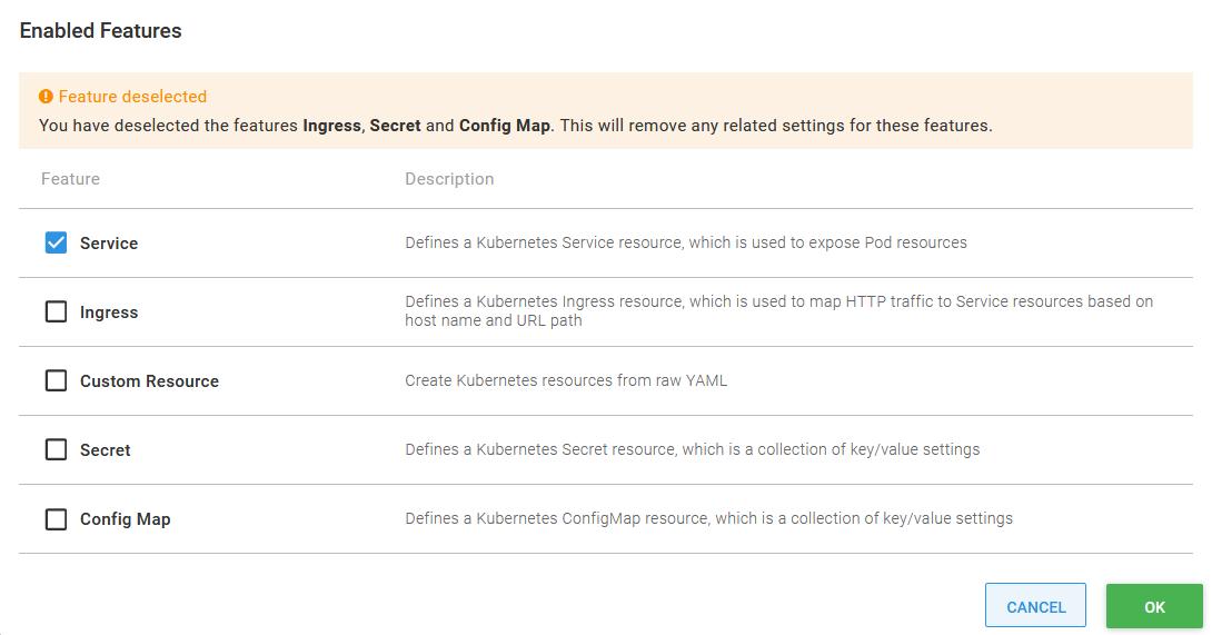 Removing unused configuration features
