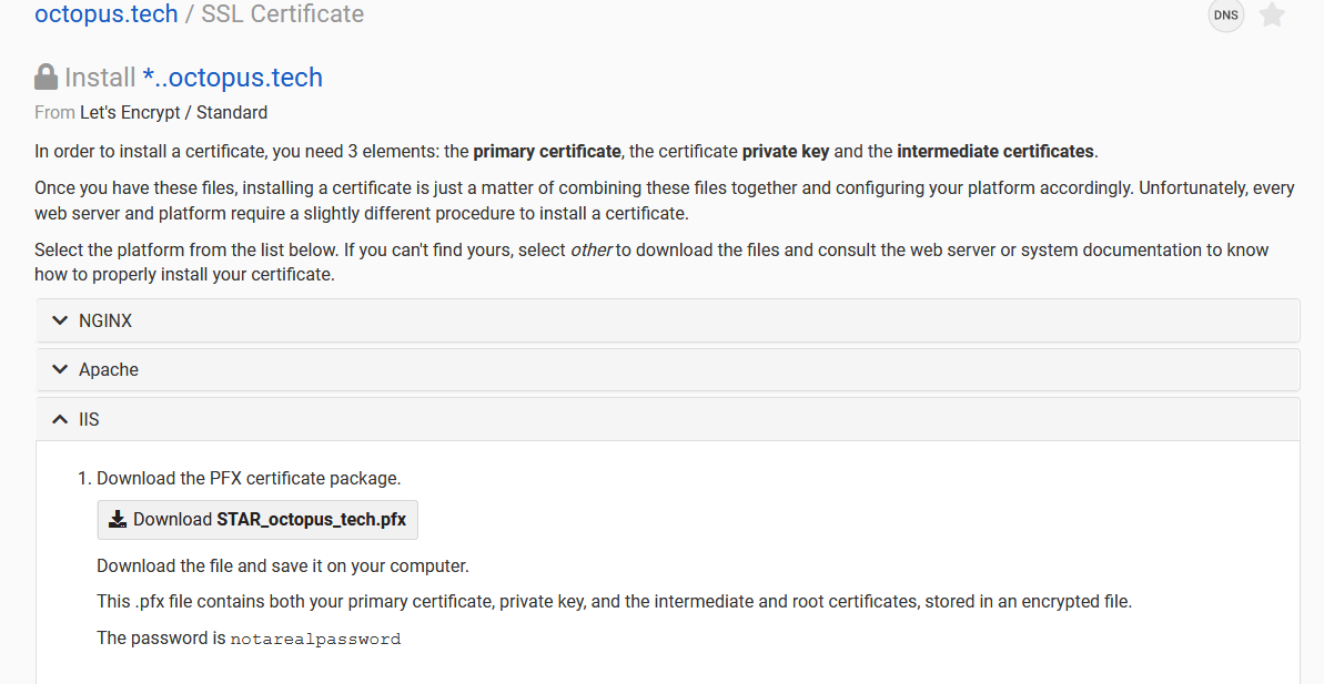 The Let's Encrypt certificate generated by the DNS provider