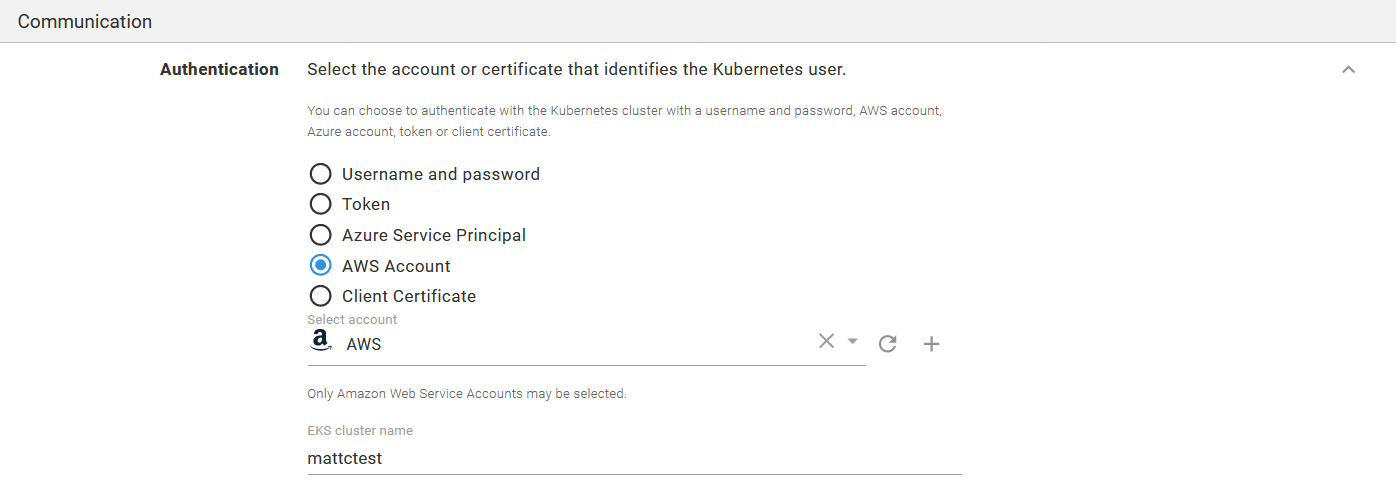 A Kubernetes target authenticating against the AWS account