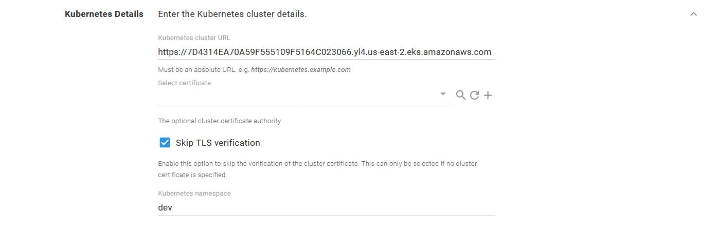 The EKS cluster details