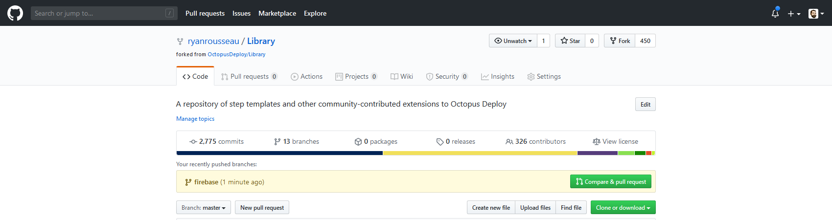 GitHub offers an option to compare and create a pull request