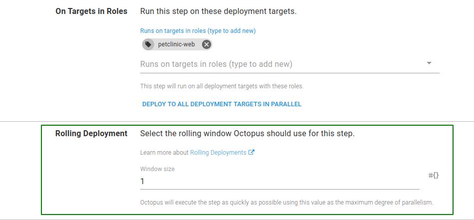 PetClinic step configure rolling deployment window size