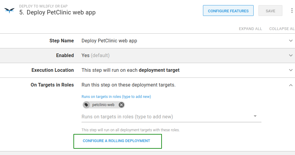 PetClinic step configure rolling deployment