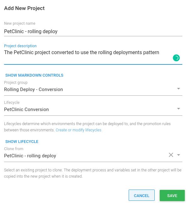 Project clone menu option