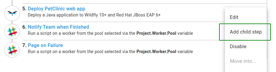Project rolling deployment add new child step