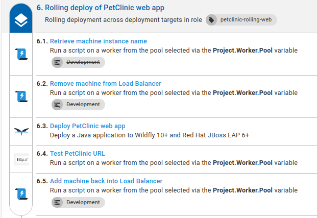 Project rolling deployment run