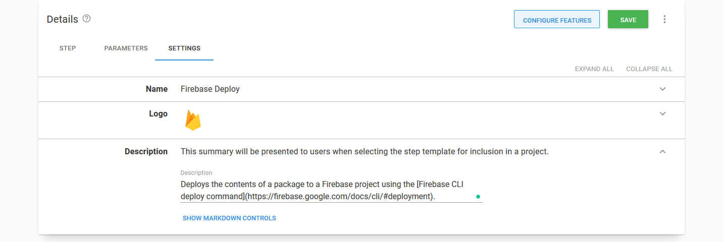 Firebase Deploy Step Settings