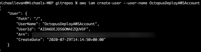 AWS CLI create-user output