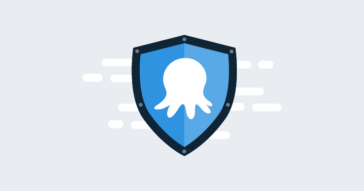 A stylized Octopus & Shield icon