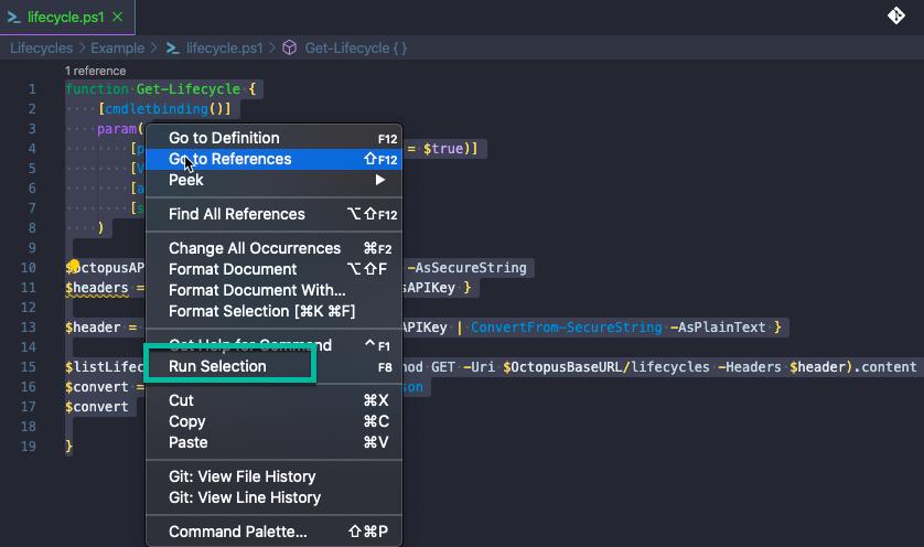 Run selection option in VS Code