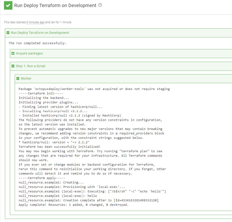 Runbook execution log