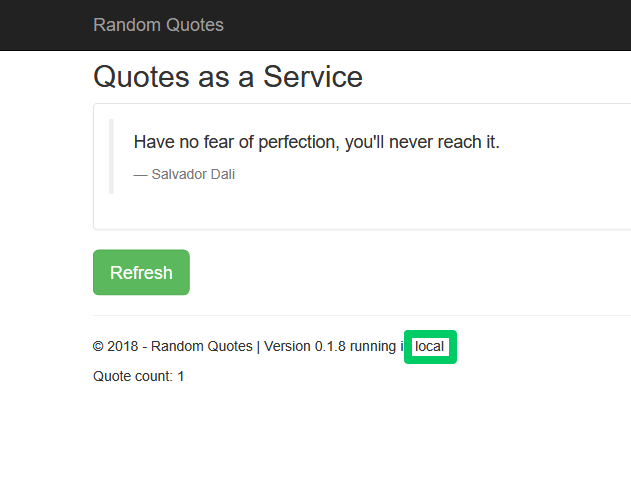 Random Quotes application with the environment name shown