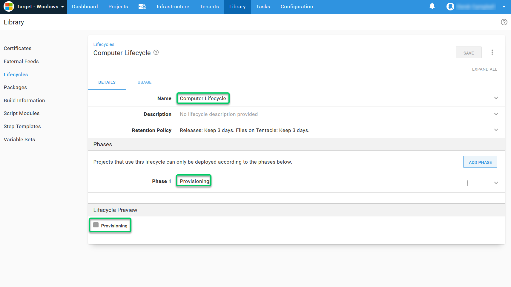Adding a Provisioning lifecycle