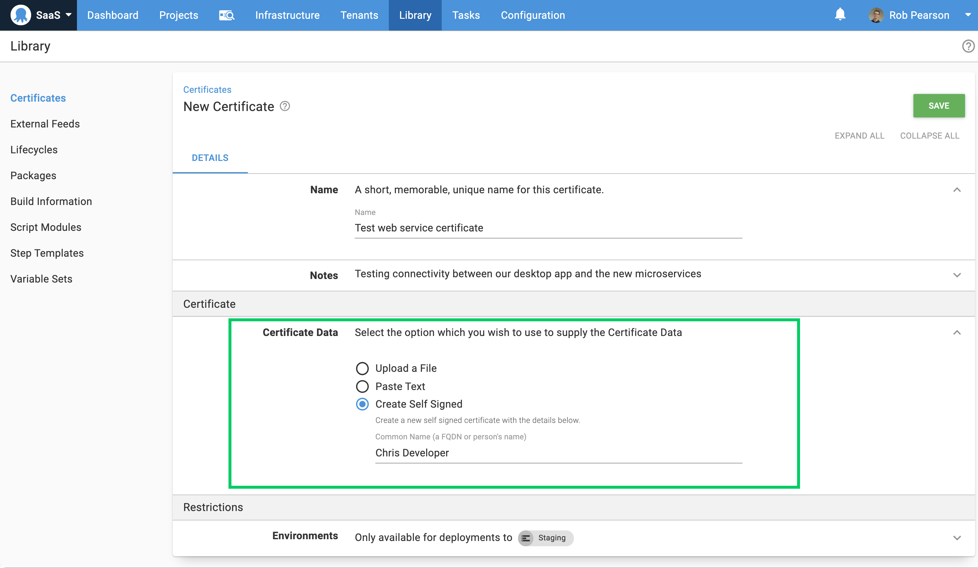Create self-signed certificates in the certificate library
