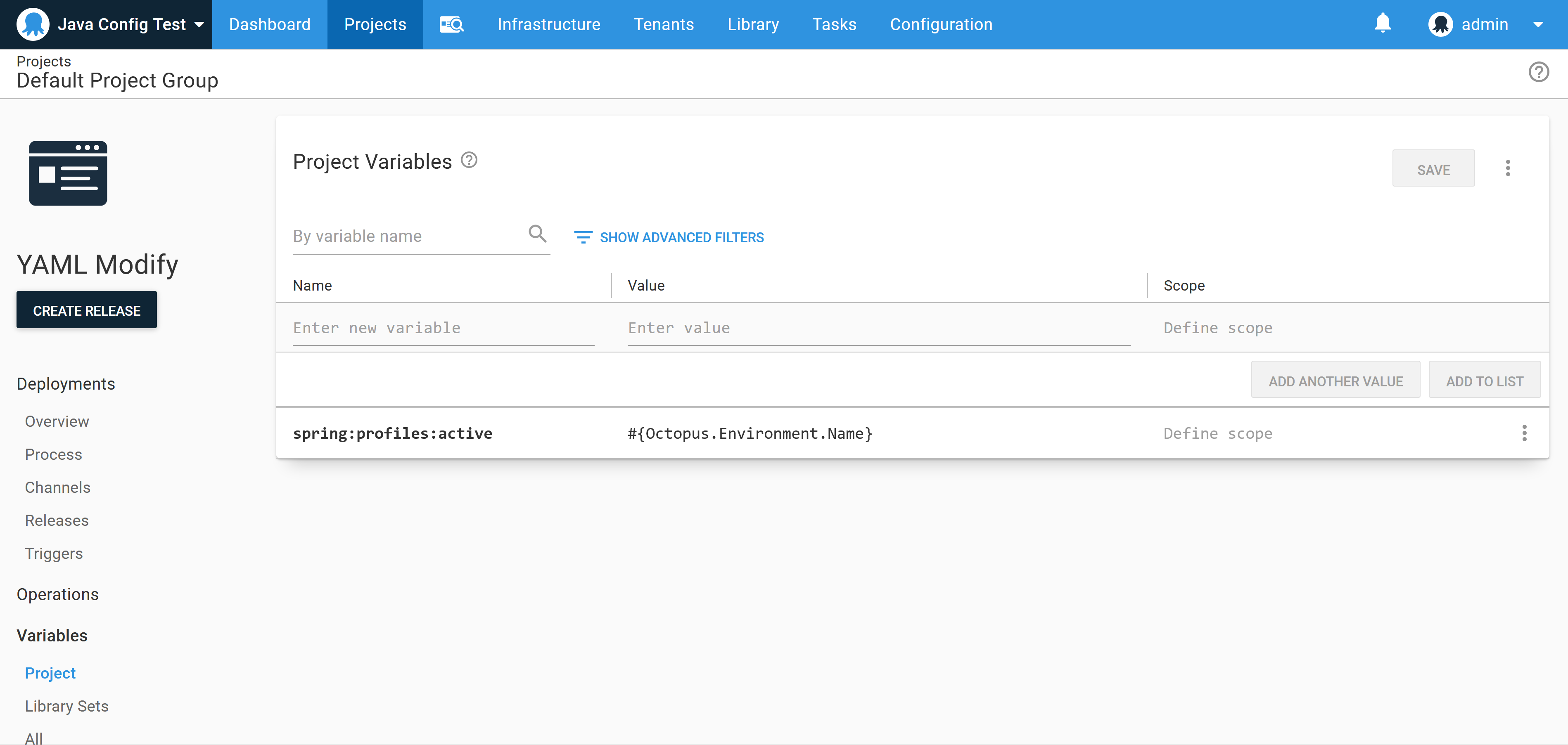 Variables defined in the Octopus Web Portal