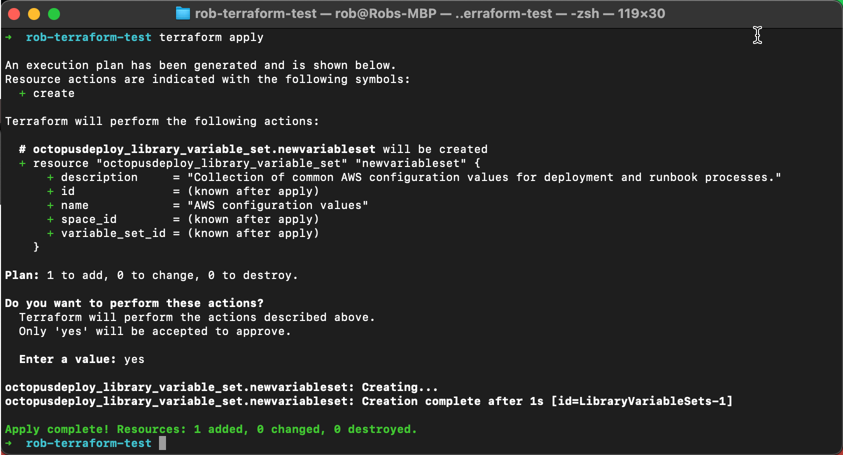 Terraform Provider example Terminal screenshot
