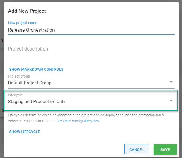 release management create project